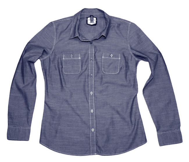 Women's Washed Denim Button Down Front (gray)